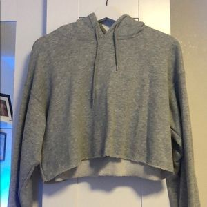 Urban Outfitters Grey Cropped Hoodie